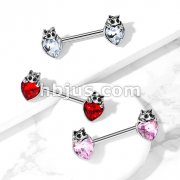 Cat with Black Crystal Eyes over Heart Crystal 316L Surgical Steel Nipple Barbell Rings