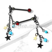 Pair of Cat with Turquoise Beads and Star Dangle with Red Gemmed Set End 316L Surgical Steel Nipple Barbell Rings