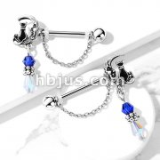Pair of Cat Sitting on Moon with Beads and Chain Dangles 316L Surgical Steel Nipple Barbell Rings