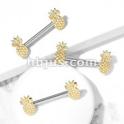 Pineapple Ends 316L Surgical Steel Barbell Nipple Rings