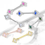 Floral Filigree Square with Crystal Accents and Opal Glitter Center 316L Surgical Steel Nipple Barbell Rings