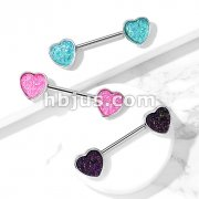 Druzy Stone Heart Set 316L Surgical Steel Nipple Barbell Rings