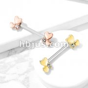 Cluster Hearts 316L Sugical Steel Barbell Nipple Rings