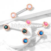 Opal Glitter Centered Rose Gold Plated Round Flower Ends 316L Surgical Steel Barbell Nipple Rings