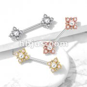 Pearl and Crystal Paved Gold Plated Vintage Square Flower Ends 316L Surgical Steel Barbell Nipple Rings
