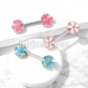 Opal Glitter Filled Rose Gold Plated 5 Petal Flower Ends 316L Surgical Steel Barbell Nipple Rings