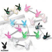 Opal Glitter Filled Playboy Bunny Ends 316L Surgical Steel Barbell Nipple Rings