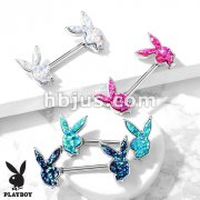 Druzy Stone Filled Playboy Bunny Ends 316L Surgical Steel Barbell Nipple Rings