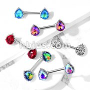 AB Effect Tear Drop Gem with Heart Filigree Encasing 316L Surgical Steel Barbell Nipple Rings