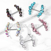 Five Round Crystals Lined Ends 316L Surgical Steel Barbell Nipple Rings