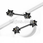 Spider On Web With Yellow and Clear Crystals 316L Surgical Steel Barbell Nipple Rings