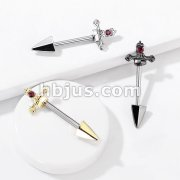 Red Gem Set Dagger 316L Surgical Steel Nipple Barbell Rings