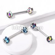 Mermaid Tail Wrapped Pear Shaped Crystal 316L Surgical Steel Nipple Barbell Rings