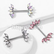 5 Marquise Crystals Fan Ends 316L Surgical Steel Nipple Barbell Rings