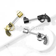 Revolver Pistol 316L Surgical Steel Barbell Nipple Rings