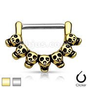 Lined Skull 316L Surgical Steel Nipple Clicker