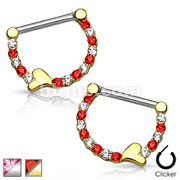 Pair of Lined Crystals with Heart 316L Surgical Steel Nipple Clickers