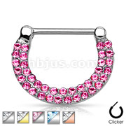 Double Lined Crystals Paved 316L Surgical Steel Nipple Clickers