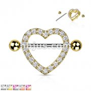 Gem Paved Heart Nipple Shield