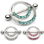 Romantic Style Nipple Shield w. Double Hoops & Pave Gems
