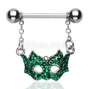 Green Masquerade Ball Mask Dangle Nipple Shield