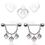 CZ Centered 3 Hearts Dangle 316L surgical Steel Nipple rings