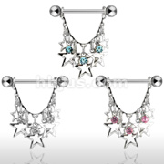 Stars with Crystals  Dangle 316L surgical Steel Nipple rings