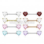 80 Pcs Heart CZ Prong Set Ends 316L Surgical Steel Barbell Nipple Rings Bulk Pack (10 pcs x 8 Colors)