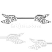 Split Angel Wings with CZ 316L Surgical Steel Nipple Bar