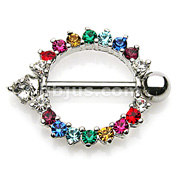 Rainbow CZ Set Round with Prong set CZ end 316L Surgical Steel Nipple Rings