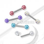 Internally Threaded 316L Surgical Steel Nipple Barbells with Epoxy Covered Crystal Paved Ball