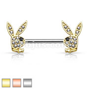 Crystal Paved Playboy Bunny Ends 316L Surgical Steel Nipple Ring Barbell