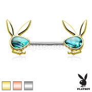 Abalone Inlaid Face Playboy Bunny Ends 316L Surgical Steel Nipple Ring Barbell