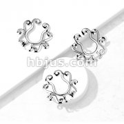 Clip On Nipple Ring Tribal Floral