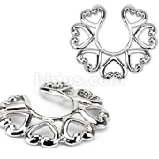 Clip On Nipple Ring Vintage Hearts
