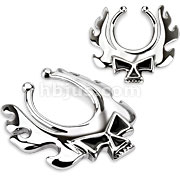 316L Surgical Steel Blazing Skull Fake Nipple Ring