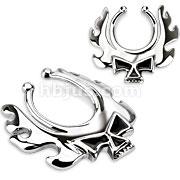 316L Surgical Steel Blazing Skull Fake Nipple Ring