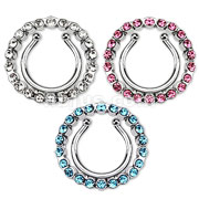 Non-Piercing Clip On Nipple Ring with Multi Paved Gem Cicle