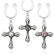 Clip on Nipple Ring Cross Dangle with Small Pink CZ