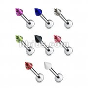 14GA 3/8 316L Surgical Steel Labret with Acrylic 4x4mm Spike 160pc Pack (20pcs x 8 colors)