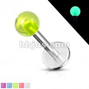 Glow in the Dark Ball 316L Steel Labret/Monroe