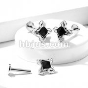 Tribal Square with Black Square Pyramid Crystal 316L Surgical Steel Internally Threaded Labret, Monroe, Ear Cartilage Studs