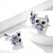 Multi Color Gemmed Owl Top 316L Surgical Steel Internally Threaded Labret, Monroe, Ear Cartilage Studs