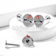 CZ Paved Skull Top 316L Surgical Steel Internally Threaded Labret, Monroe, Ear Cartilage Studs