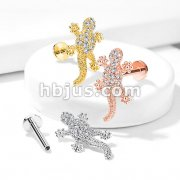 CZ Paved Lizard Top Internally Threaded 316L Surgical Steel Flat Back Studs for Labret, Monroe, Ear Cartilage and More