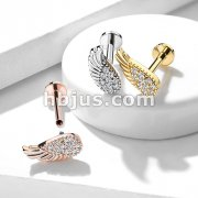 CZ Paved Angel Wing Top Internally Threaded 316L Surgical Steel Labret, Monroe, Ear Cartilage Studs