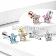 Double Tiered 6 CZ Flower Top Internally Threaded 316L Surgical Steel Labret, Monroe, Ear Cartilage Studs