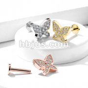 Micro Paved CNC Set Butterfly Top Internally Threaded 316L Surgical Steel Labret, Monroe, Ear Cartilage Studs