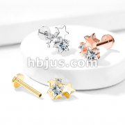 Cluster CZ Star Top Internally Threaded 316L Surgical Steel Flat Back Studs for Labret, Monroe, Ear Cartilage and More