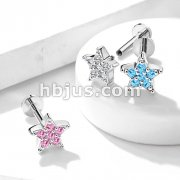 CZ Paved Star Top Internally Threaded 316L Surgical Steel Labret, Monroe, Ear Cartilage Studs